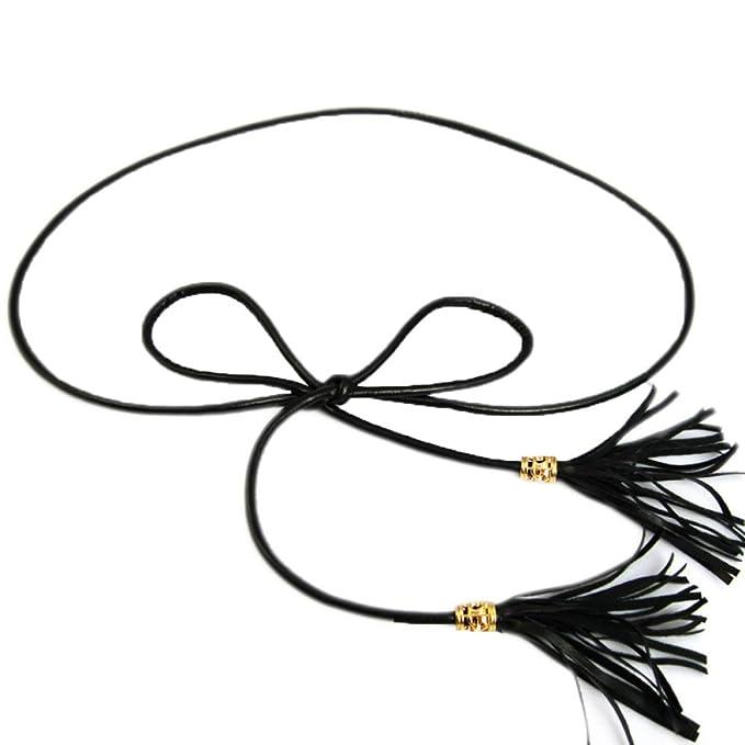 Damas Cinturones Arcos Borlas Negras Bellas Cintura Accesorios Vestidos Cintura Cadenas,Black-S