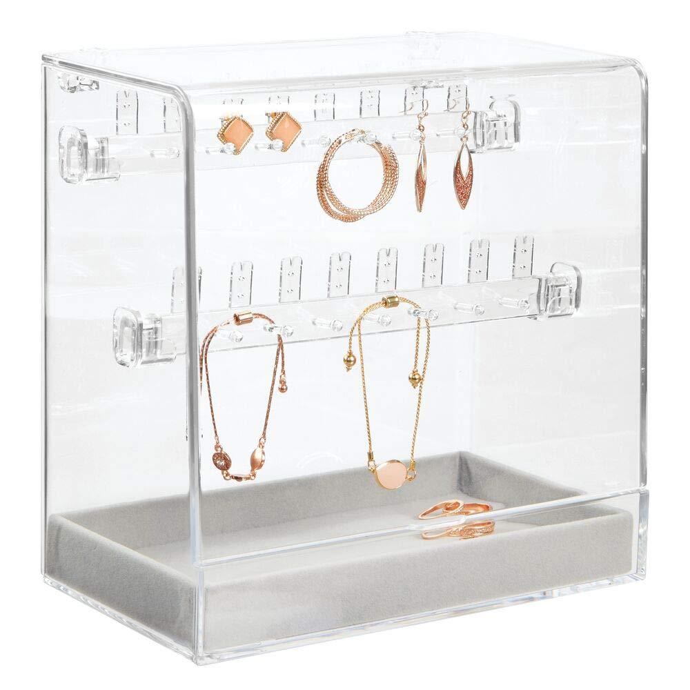 Caja para Joyas con caj/ón de Terciopelo para Relojes y 14 Ganchos para Colgar Collares o Pulseras mDesign Organizador de Joyas Transparente y Gris Caja con Tapa para 16 Pares de Pendientes