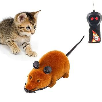 Twshiny Mando a Distancia inalámbrico RC Rat ratón Juguete para Gato Perro Mascota Novedad Regalo Divertido, LED Mouse Brown: Amazon.es: Deportes y aire ...