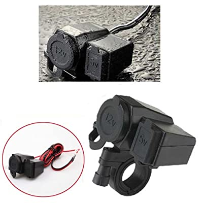 DLLL Black Waterproof 5V 2.1A USB Phone 12V Motorcycle Car GPS Cigarette Lighter Handlebar Handle Bar Clamp Charger Power Port Socket Set for Car,ATV,Boat