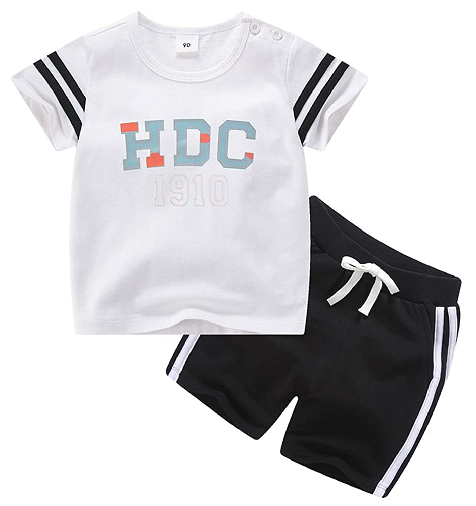 Boys Fashionable HDC Print Flowing Comfortable Athletic Short Clothing Sets