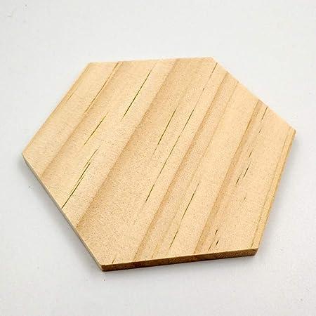 SUPVOX 25 piezas//paquete de madera en forma de hex/ágono rebanadas en blanco recortes de madera piezas diy rebanadas de madera decorativas para la decoraci/ón de la boda del hogar del partido