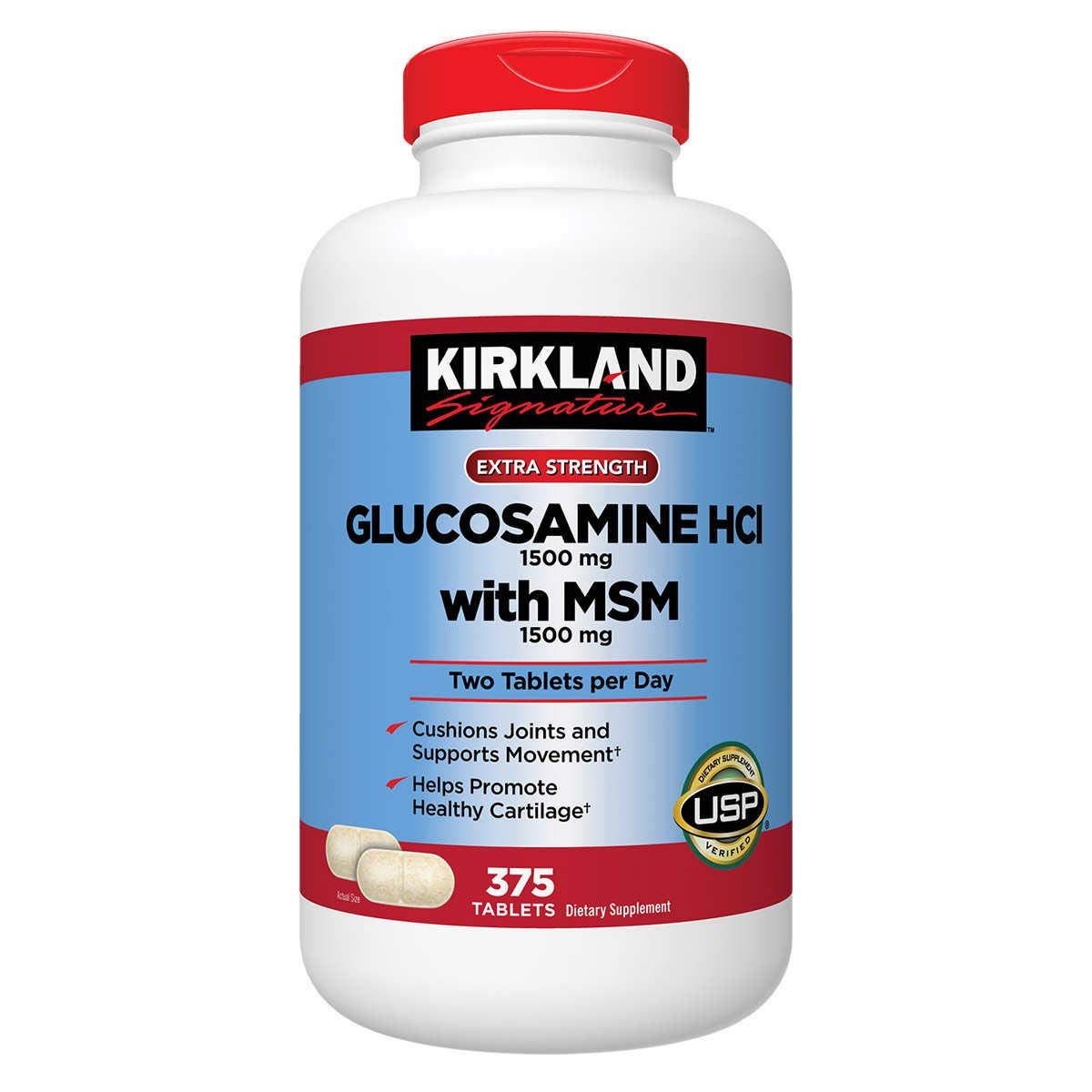 Kirkland GhZzx, Extra Strength Glucosamine HCI with MSM 375 Count (Pack of 2)