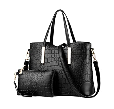 a70e2240d356 Amazon.com  Satchel Purse Set for Women Tote Bag Handbag Set Purse and  Wallet(Black)  Shoes