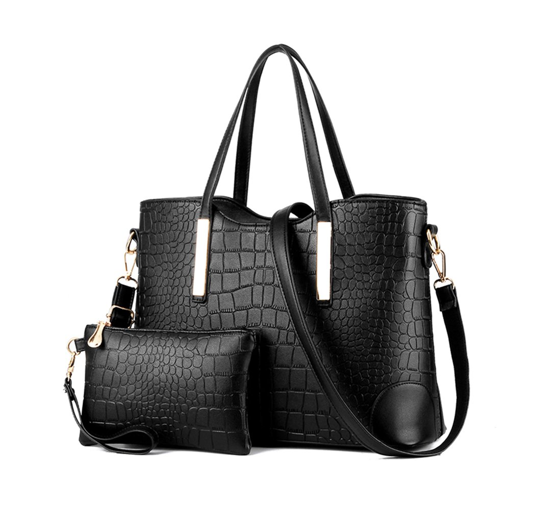 Satchel Handbag Leather Purse Sets for Women Satchel Purse Tote Bag Top handle Handbag Set Shoulder Bag Purse and Wallet(Black) by LIKE IT LOVE IT (Image #1)