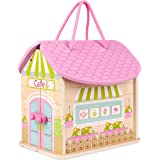 SIAYI Wooden Dollhouse, Fold and Go Doll House, Pretend Play Doll House Toy Set with Dolls and Furniture for Girls