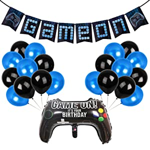 YBB Video Game Party Banner Supplies, Cool Blue Style Gaming Party Decorations Includes Game On Banner, Game Controller Foil Balloon and Blue Black Balloons for Boys Birthday Game Themed Party Favors