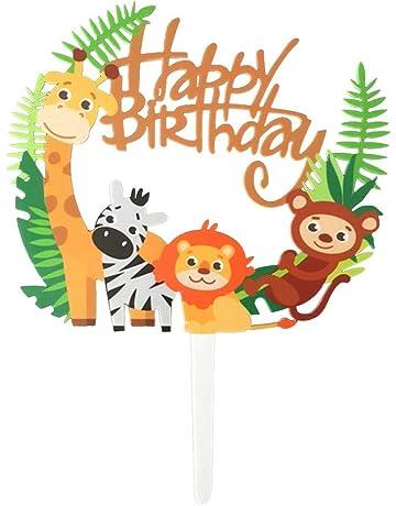 Toyvian Acrílico Animal Cupcake Toppers - Selecciones Lindas de la Selva de la Torta de los