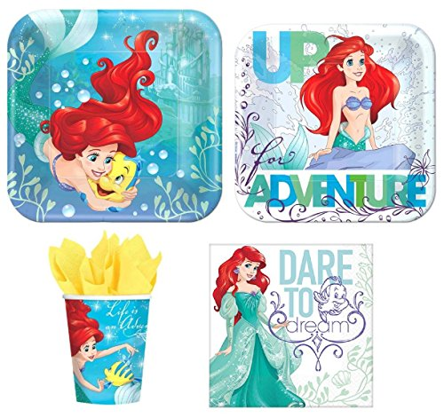 Disney Little Mermaid Princess Ariel Value Pack Birthday Party for 8 guests ( Plates, Cups, Napkins) -