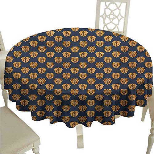 duommhome Damask Spill-Proof Tablecloth Antique Floral Motifs with Arabesque Design Classic Victorian Foliage Motifs Easy Care D43 Dark Blue Marigold