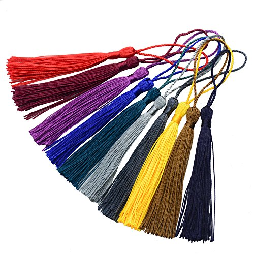 Mixed 100pcs 13cm/5 Inch Silky Floss Bookmark Tassels with 2-Inch Cord Loop and Small Chinese Knot for Jewelry Making, Souvenir, Bookmarks, DIY Craft Accessory (Mixed 2 Dark)