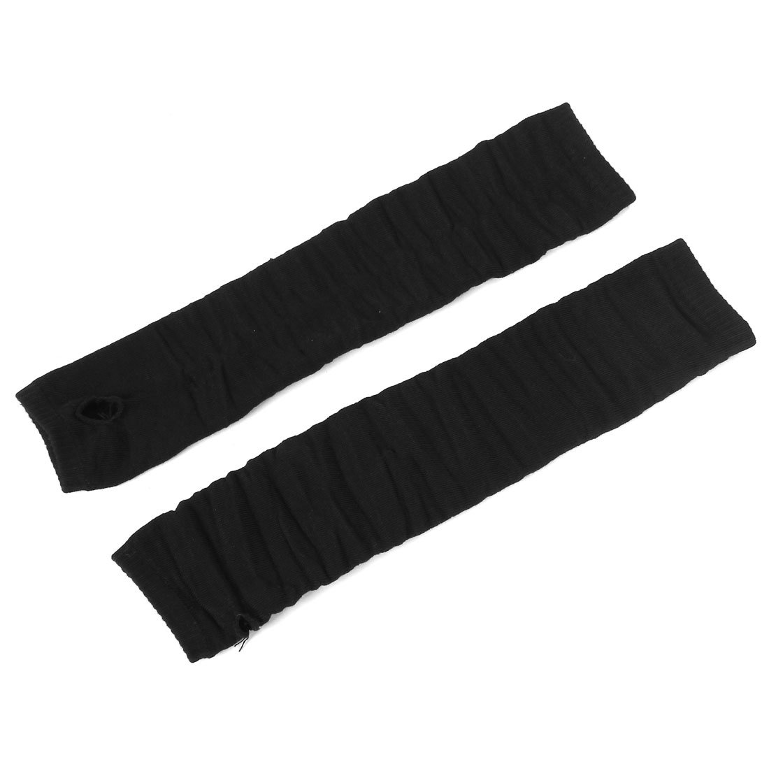 sourcingmap® Elastic Ribbed Thumbless Black Fingerless Long Gloves Pair for Woman