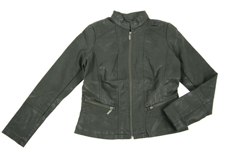 Bernardo Faux Leather Moto Style Jacket for Women (S, Army Green)