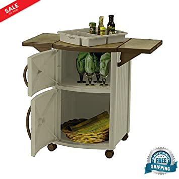 BBQ Prep Table Outdoor Mobile Ceramic Tile Look Top With Drop Lead Shelves  Grill Prep Cooking