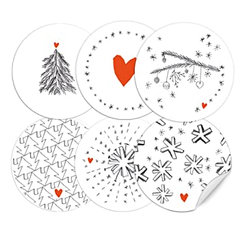Gebastelte Weihnachtsdeko.24 Weihnachtsdeko Aufkleber Grau Weiß Rot Im Handlettering Stil Runde Selbstklebende Sticker Gemischt 6 Motive Matte Papieraufkleber Für