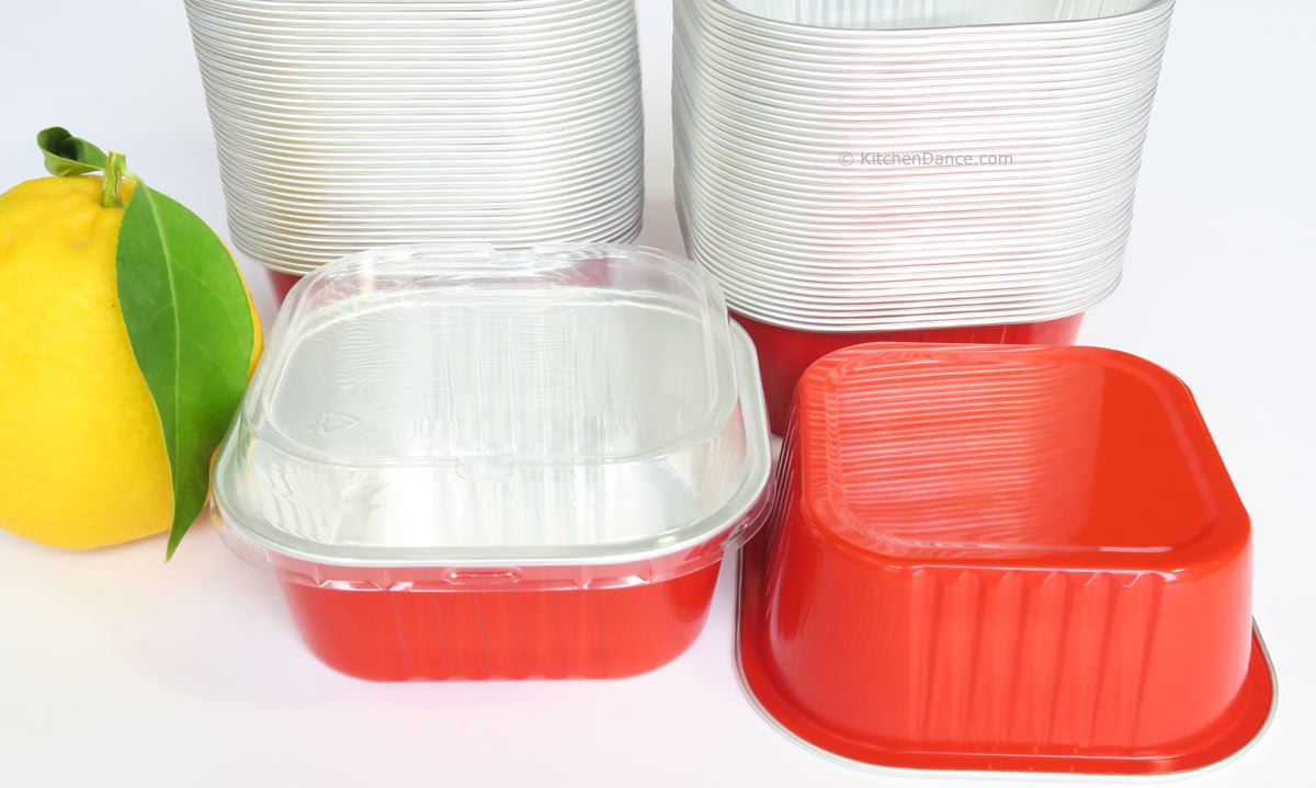 KitchenDance Disposable Aluminum 4'' x 4'' Square Dessert Pans W/ Lids - #A-24P (1000, Red) by KitchenDance (Image #2)