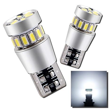 Grandview 2pcs Blanco T10 501 LED Canbus W5W 194 168 Bombillas LED con 18-3014-SMD ...