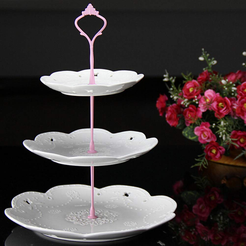 7thLake 3 Tier Crown Cake Cupcake Plate Stand Handle for Dessert Fruit Appetizer Party Wedding Holiday Dinners(Not Include Plate) by 7thLake (Image #1)