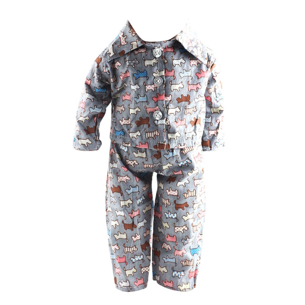 Dog Printed Pajamas Outfit for American/Our Generation/Journey Girl 18 Inch Doll Generic
