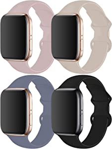 RUOQINI 4 Pack Compatible with Apple Watch Band 38mm 40mm 42mm 44mm,Sport Silicone Soft Replacement Band Compatible for Apple Watch Series 5/4/3/2/1