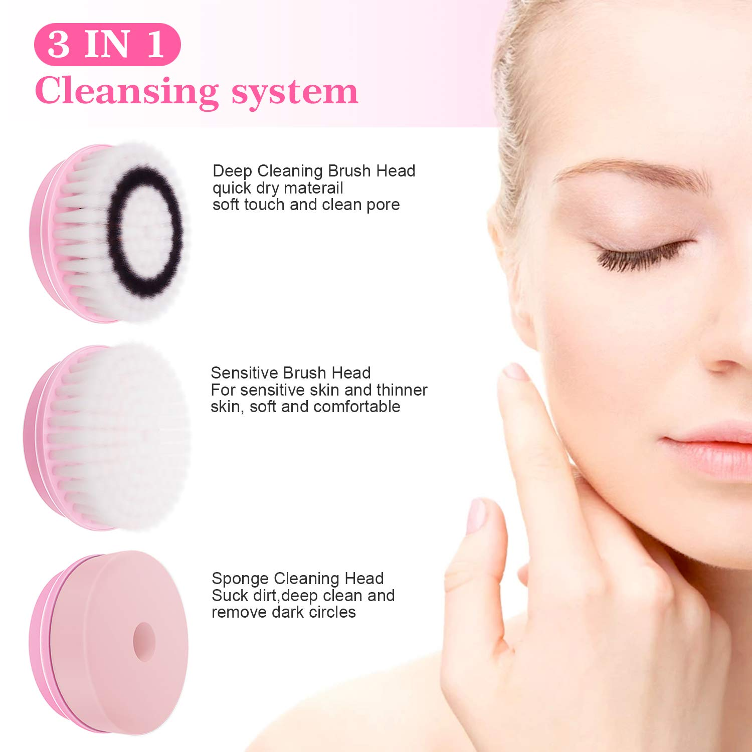 Electirc Facial Cleansing Brush Spin Face Brush, 2 Speed Waterproof Facial Brush