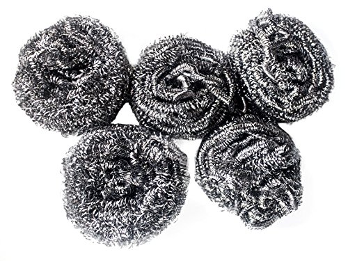 Powerful Dishwashing Metal Scouring Pads Set of 5 - Removes Grease, Oil Completely from Plates, Cups, Glassware, Baking Tins - Long Lasting Satisfaction Guaranteed! (Metal Toilet Scrubber compare prices)
