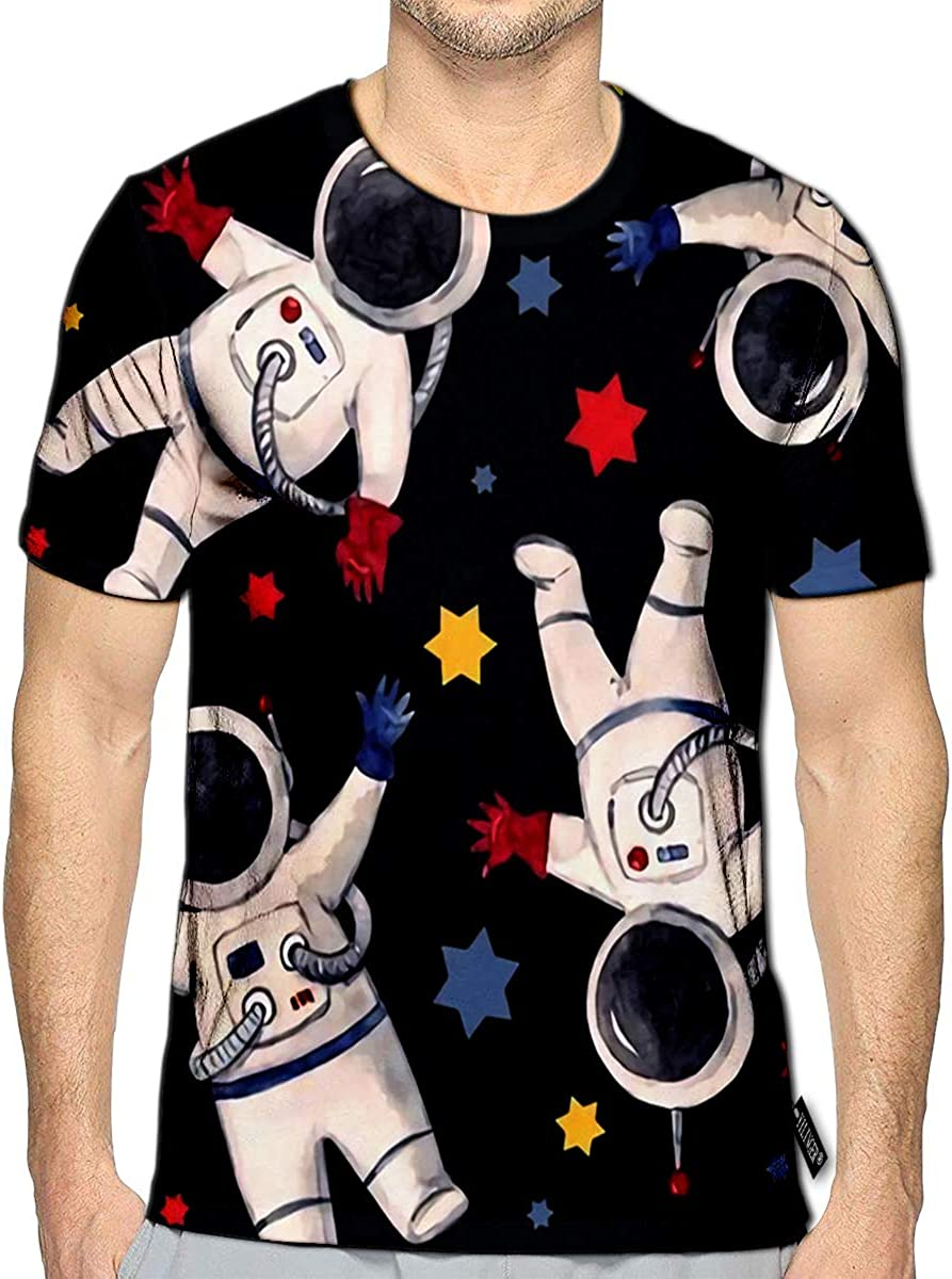 YILINGER 3D Printed T-Shirts Watercolor Astronaut Short Sleeve Tops Tees