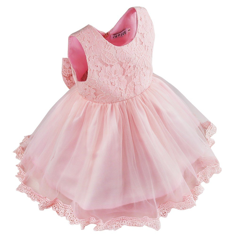 d089ae1345ad Amazon.com  CHICTRY Infant Baby Girls Princess Floral Lace Big Bow Wedding  Party Birthday Ball Gown Flower Dress  Clothing