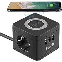 Beva Cube stekkerdoos, 2-voudig + 3 USB met draadloze oplaadfunctie, meervoudig stopcontact, geaard stopcontact, desktop…