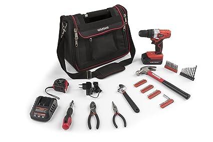 WOLFGANG Caja de herramientas con Taladro Destornillador inalámbrico 18V Li-Ion y Par 15 + 1   Juego de 70 herramientas manuales   Bolsa de hombro ...