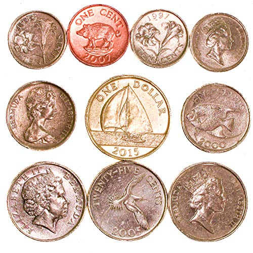 10 Bermuda Coins 1 Cent - 1 Dollar. Old Coins Collection from North Atlantic Ocean, Since 1970. Perfect Choice for Your Coin Bank, Coin Holders and Coin Album