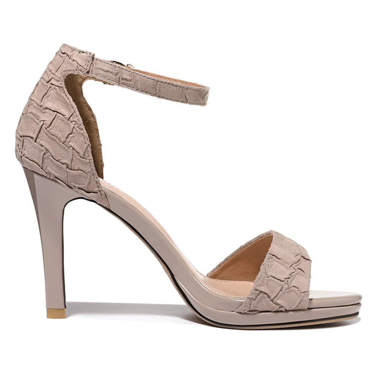 Thirty-six noir SFSYDDY Chaussures Populaires Nouveau Style Sandales été 9Cm Talon Haut Bien Talon 100 Séries