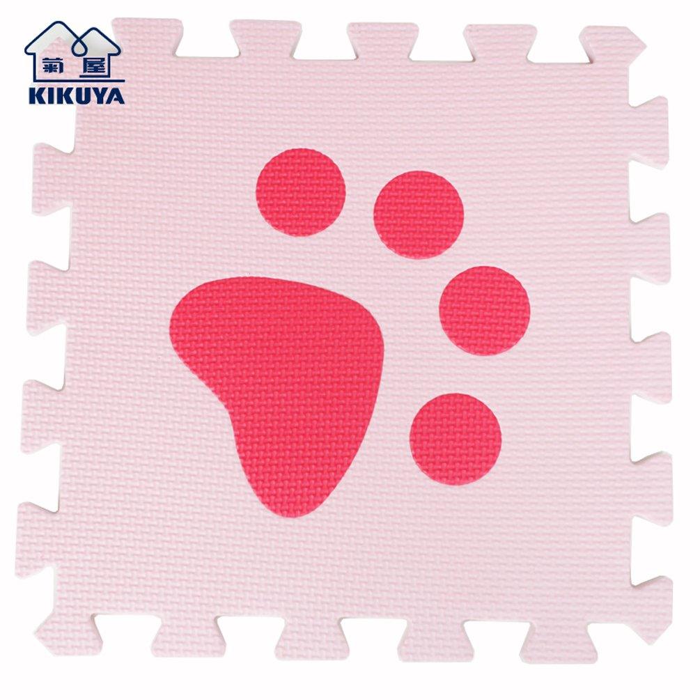 Pink & Red Footprints 40pcs Menu Life ECO Soft Play Mats for Kids EVA Foam Mats Flooring Mats 30x30x1cm (30pcs, Beige & Coffee Footprints)