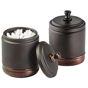 mDesign Metal Bathroom Vanity Storage Organizer Canister Jar for Cotton Balls, Swabs, Makeup Sponges, Bath Salts, Hair Ties, Jewelry - 2 Pack - Bronze with Warm Brown Accents