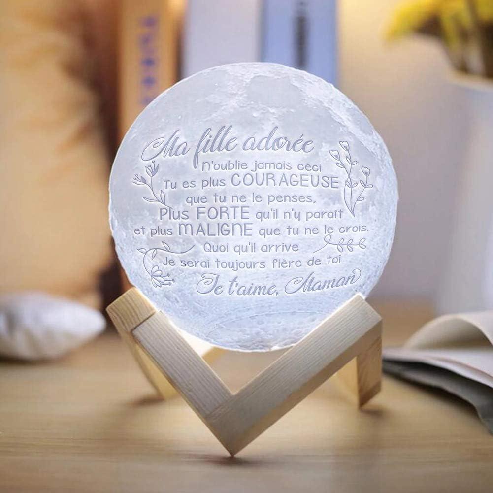 Ma fille ador/ée Lampe Lune 3D Ma fille ador/ée Veilleuse LED Lampe Luna Tactile 2 Couleurs de nuit RGB Moonlight avec USB Rechargeable Bureau Lampe Lune pour Chambre Salon Caf/é Cadeau Anniversaire