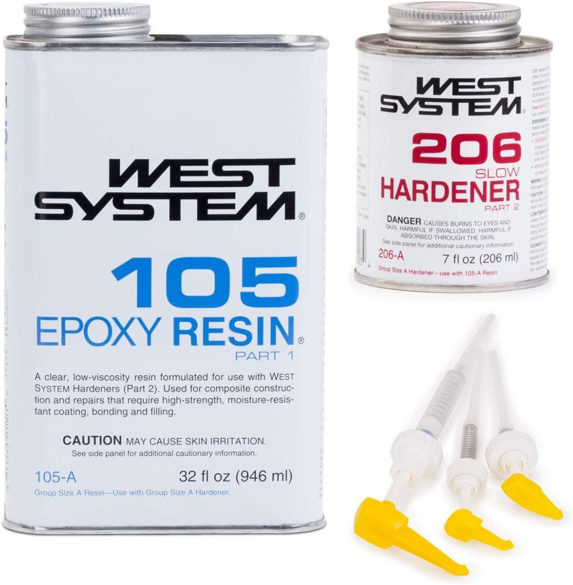 West System 105A Epoxy Resin (1 qt) with 206A Slow Epoxy Hardener (.43 pt) + Mini Epoxy Metering Pump Set