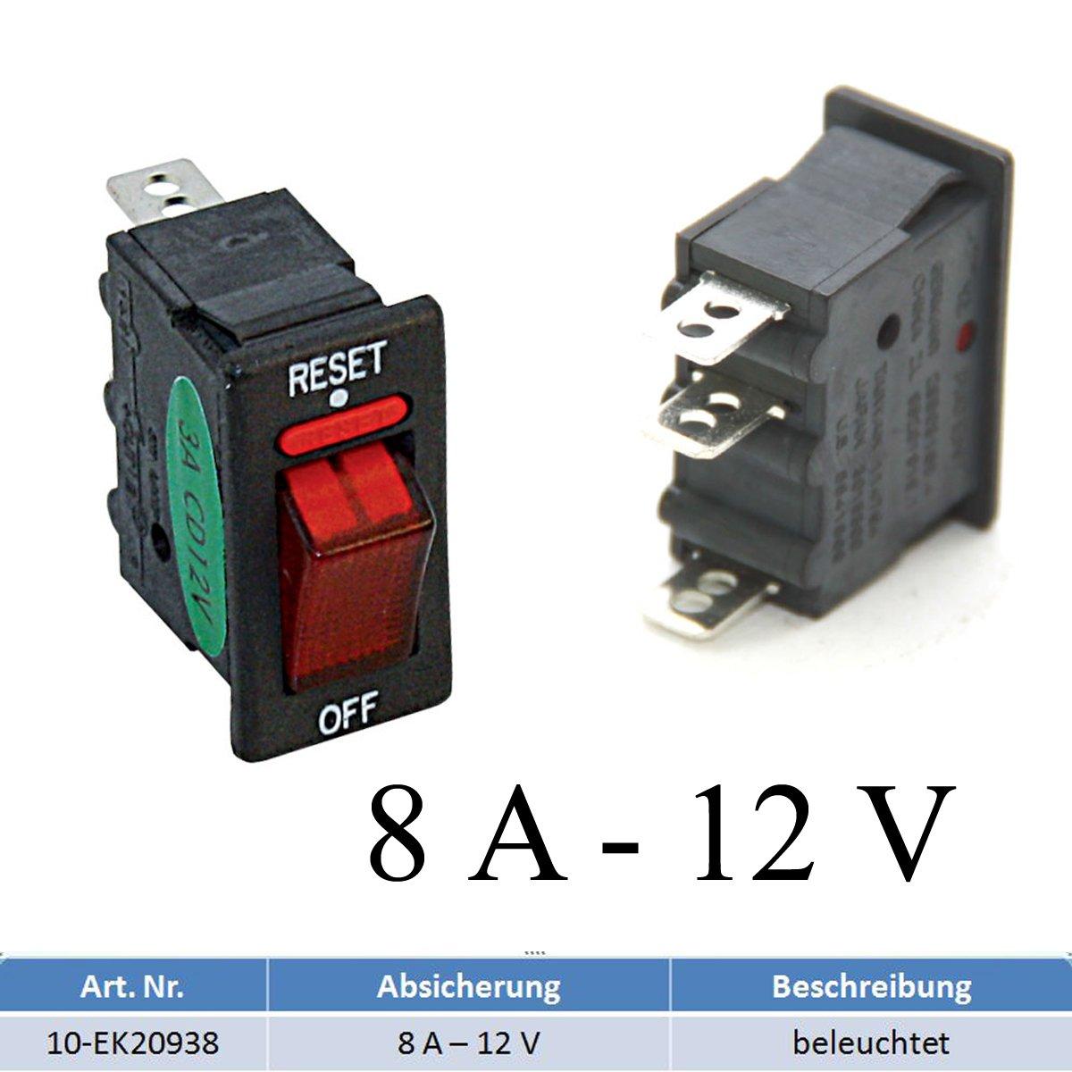Sicherungsautomat Schutzschalter 12 Volt / 8 Ampere mit Beleuchtung bootsshop in Bad Ischl
