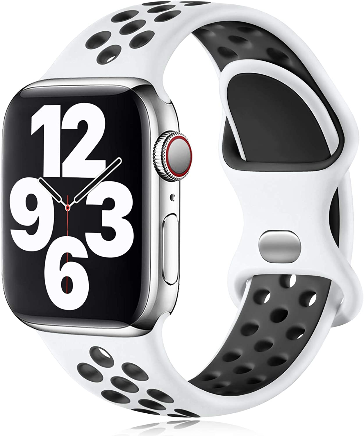 Vcegari Compatible with Apple Watch Bands 42mm 44mm, Soft Breathable Silicone Strap for Women Men, Wristband for iWatch SE Series 6 5 4 3 2 1, White/Black S/M