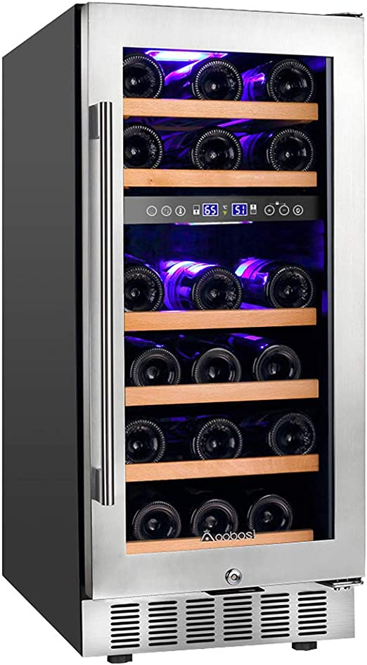 Amazon Com Upgraded Aobosi 15 Inch Wine Cooler 28 Bottle Dual Zone Wine Refrigerator With Stainless Steel Tempered Glass Door Temp Memory Function Fit Champagne Bottles Freestanding And Built In Style Appliances