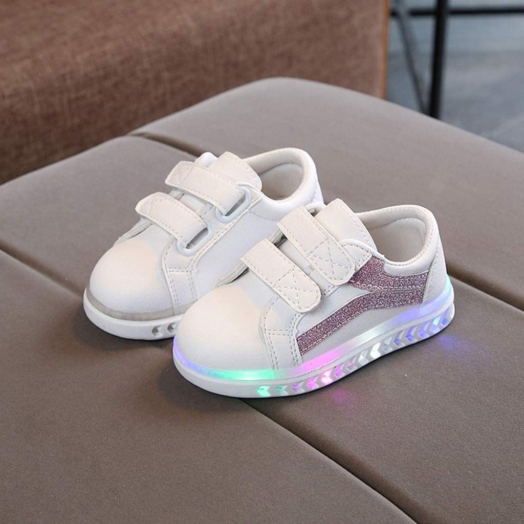 Shan-S Baby Flat Shoes,Children Kid Girls Boys Toddler Fashion Running Sport Shoes LED Light Up Luminous Sneaker Walking Shoes