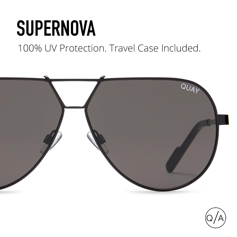 af39583a49 Amazon.com  Quay Australia SUPERNOVA Women s Sunglasses Aviator Sunnies -  Black Smoke  Quay  Clothing