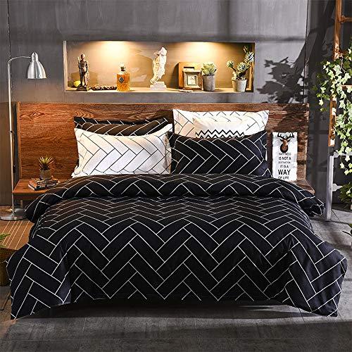 MOOJIIN Black Grid Brick Plaid Comforter Set Premium Reversible Luxury Zipper Closure Soft Hypoallergenic 3Pcs Duvet Cover Set(1 Duvet Cover + 2 Pillow Shams)(King,Black)