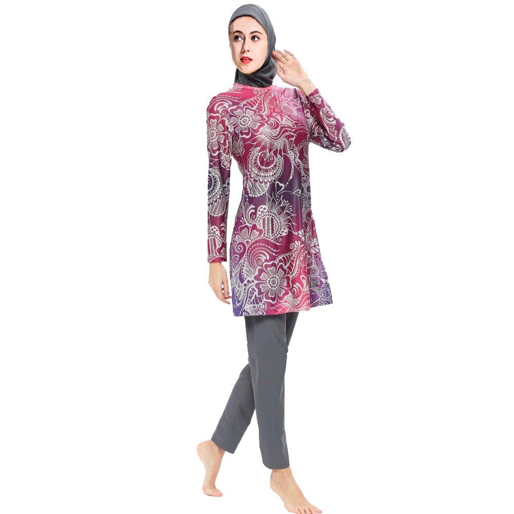 Women Muslim Swimwear Full Coverage Islamic Modest Swimsuit 3 Pieces with Hijab Muslim Sun Protection Swimsuits Burkini (M, Red)