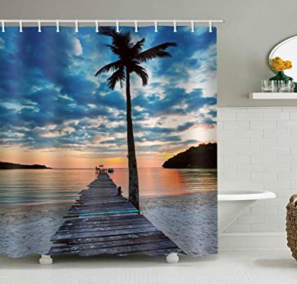 UHUSE Tropical Island Shower Curtain