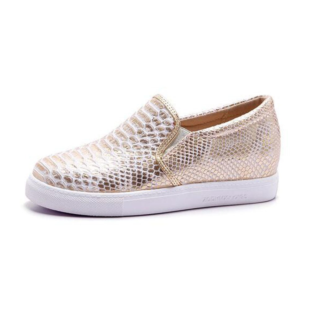 Summerwhisper Women's Fashion Elastic Round Toe Low Top Slip on Loafers Platform Flats Shoes Sneakers Gold 4 B(M) US