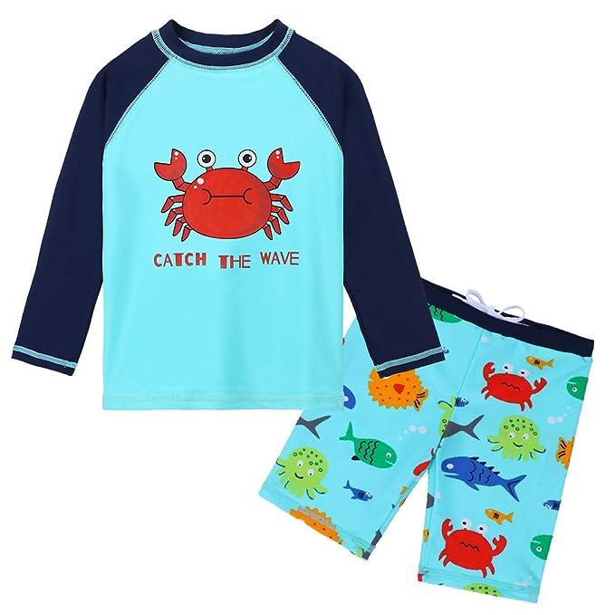 HUAANIUE Traje de Baño para Bebé Comodidad Dos Piezas Manga Larga + Pantalones Cortos Combinación de Niños Piscina Anti-UV Traje para Niños