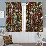Casino,Blackout Curtain,Doodles Style Artwork of Bingo and Cards Excitement Checkers King Tambourine Vegas,Window Curtain Fabric,Multicolor,W72 x L72 inch