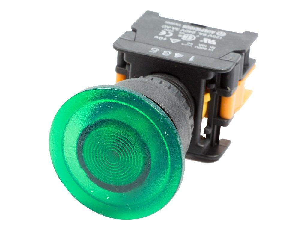 Alpinetech LEX-22 Green 22mm 1NO Momentary Push Button Switch 220V LED Illuminated