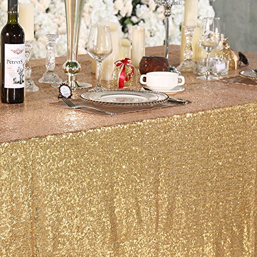 3e Home 60×102'' Rectangle Sequin TableCloth for Party Cake Dessert Table Exhibition Events, Light Gold by 3e Home (Image #2)
