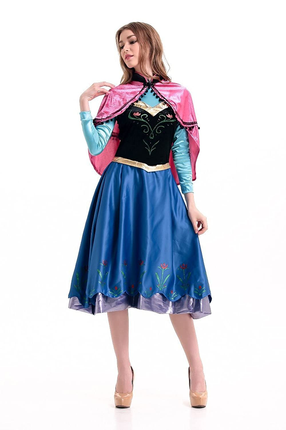 amazoncom disney frozen inspired anna winter dress adult costume halloween cosplay s xl s clothing - Halloween Anna Costume